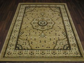 Woven Backed Beige Traditional Carved Rug 120cm x 170cm Approx 6x4 Top Quality